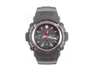 Casio G-Shock Ana-Digi Multi-Band 6 Black Resin, SS Bezel w/Gray Face AWGM100-1A