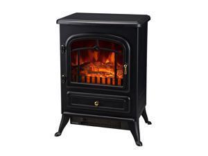 "HOMCOM 16"" 1500 Watt Free Standing Electric Wood Stove Fireplace Heater - Black"
