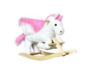 Qaba Kids Rocking Chair Plush Unicorn Child Soft and Warm Rocking Horse with Sing Along Song Pink