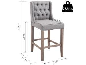 HOMCOM Set of 2 40Inch Button Tufted Barstools High Counter High Chairs Bar Stool Set with Backrest Grey