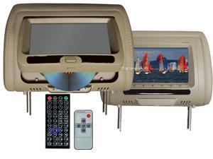 """New Pair Tview T737dvpl-Tan 7"""" Headrest Monitors Car Video Headrest Monitors Tan"""