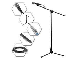 Technical Pro MC1ST Microphone, Tripod Stand, Boom, Carrying Bag, Cable and Adapter Set