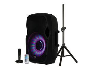 """Acoustic Audio AA15LBS Powered 1000W 15"""" Bluetooth Flashing LED Speaker with Mic and Stand"""