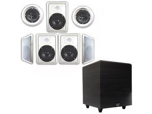 "Acoustic Audio 7.1 Speaker System Flush Mount 7 Speaker Set and 8"" Powered Sub"