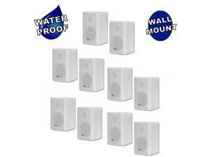 Acoustic Audio AA351W Indoor Outdoor 2 Way Speakers 2500 Watt White 5 Pair Pack AA351W-5Pr
