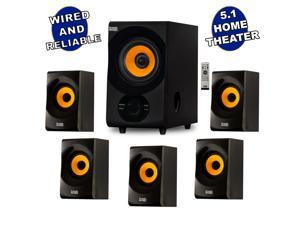 Acoustic Audio AA5170 700W Bluetooth Home Theater 5.1 Speaker System with FM Tuner, USB, SD Card, Remote Control, Powered Sub (6 Speakers, 5.1 Channels, Black with Gold)