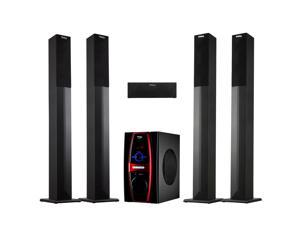 Frisby FS-6600BT 5.1 Channel Home Theater System w/ Surround Sound Tower Satellite Speakers & Bluetooth / SD / USB