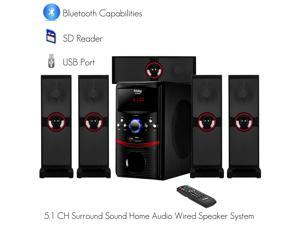 Frisby FS-5090BT 5.1 Channel Home Theater System W/ Surround Sound Satellites and Bluetooth Connectivity, SD, USB, AUX for PC TV Laptops Tablets