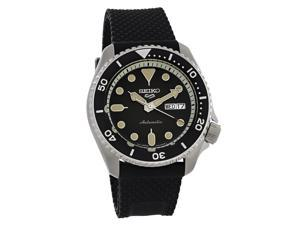 Seiko 5 Mens Stainless Steel Black Silicone Strap Automatic Watch SRPD95