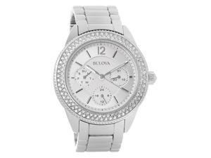 Bulova Ladies Crystal Silver Day/Date Dial Stainless Steel Quartz Watch 96N102
