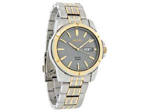Seiko Solar Mens Charcoal Dial Two Tone Stainless Steel Watch SNE098