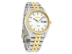 Seiko Solar Mens White Dial Two-Tone Bracelet Dress Watch SNE032