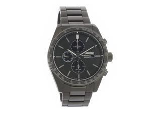 Seiko Solar Chronograph Black ION Plated Stainless Steel Watch SSC721