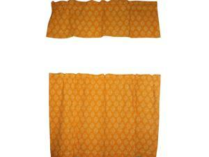 "Cafe Curtain with Valance Block Print Cotton 44"" x 30"" Saffron"
