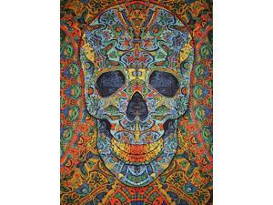 """Poster Size 3-D Psychedelic Skull Cotton Wall Hanging 48"""" x 35"""" Multi Color with FREE 3-D Glasses"""
