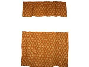 """Cafe Curtain with Valance Block Print Cotton 44"""" x 30"""" Brown"""