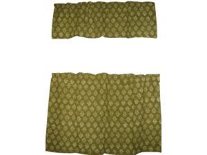"""Cafe Curtain with Valance Block Print Cotton 44"""" x 30"""" Olive Green"""