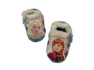 Disney Frozen Toddler Girls White Shimmer Elsa & Anna Slippers House Shoes 5-6