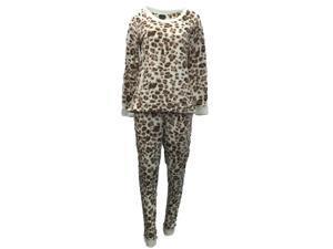 5b2fd81ec6 Covington Womens Ivory   Brown Fleece Pajamas Leopard Print ...