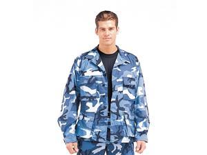 Sky Blue Camo BDU shirts, military uniform shirts, Large