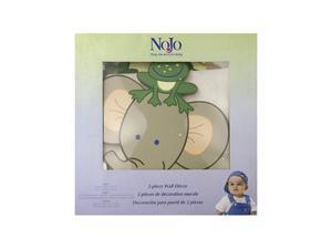 Nojo 2 Piece Wooden Wall Art, Jungle Babies