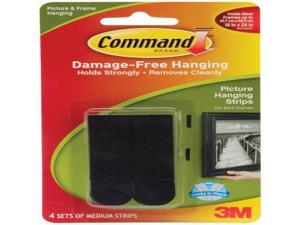 3M 17201BLK Command Black Medium Picture Hanging Strips 4 sets