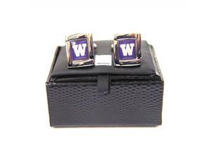 NCAA Washington Huskies Square Cufflinks With Square Shape Engraved Logo Design Gift Box Set