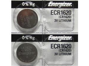 2 Energizer CR1620 Lithium 3V Coin Cell Batteries