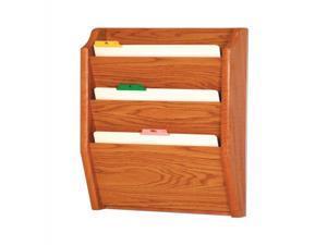 Wooden Mallet Home Office 3 Pocket Letter Size File Holder Wall Display Rack Furniture Medium Oak