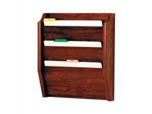 Wooden Mallet Home Office 3 Pocket Letter Size File Holder Wall Display Rack Furniture Mahogany