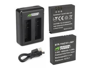 Wasabi Power Battery (2-Pack) and Dual Charger for Xiaomi YI 4K Camera and YI AZ16-1