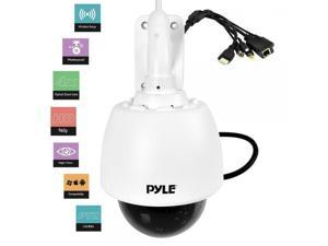 Pyle PTZ Outdoor IP Camera HD 960p - Weatherproof Wireless Remote Home WiFi Security Surveillance h.264 ONVIF Video - Outside Pan Tilt Dome 4x Optical Zoom for PC iOS and Android - PIPCAMHD46 White
