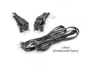 Premium 2 Slot Power Cord Super-Duty Two Pack Contains Both Polarized (Squared End) and Non-Polarized (Figure 8 End) Power Cable (NEMA 1-15P to C7 C8) UL Listed - 18 AWG, 10 Amps, 125 Volts (6 Foot)