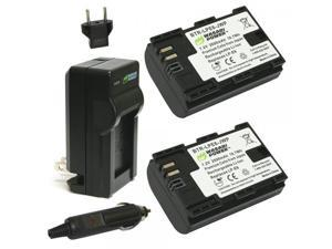 Wasabi Power KIT-BTR-LPE6-LCH-LPE6 2-Pack 2600mAh Li-Ion Battery (2-Pack) and Charger for Canon LP-E6, LP-E6N