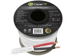 12 AWG CL2 OFC In Wall Speaker Wire, GearIT Pro Series 12 AWG Gauge (100 Feet / 30.48 Meters / White) OFC Oxygen Free Copper UL CL2 Rated In-Wall Speaker Wire Cable for Home Theater and Car Audio