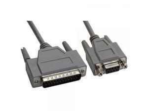 Amphenol CS-DSNL4259MF-005 DB25 Male to DB9 Female Null Modem Cable, Full Handshaking, 5', Gray