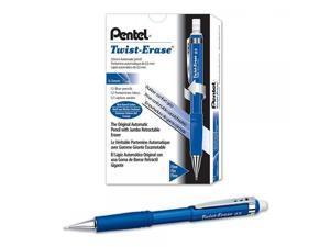 Pentel Twist-Erase III Mechanical Pencil ,0.5mm , Blue Barrel, 12 Pack (QE515C)