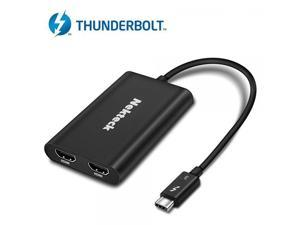 [Certified] Nekteck Thunderbolt 3 to Dual 4K HDMI Adapter Converter for Mac and Windows Systems - Support Up to Two UHD 4K 60Hz Displays - [USB-C is NOT supported]