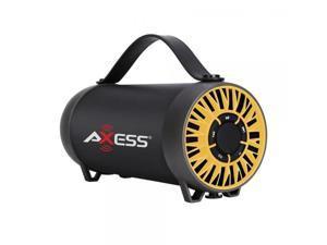 AXESS BLUETOOTH MEDIA SPEAKER W/FM RADIO, USB-BLACK/YELLOW