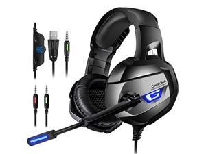 onikuma gaming headset  headset gaming headphone for ps4, xbox one adapter need, nintendo switch audio pc gaming headset with crystal clear sound, led lights & noisecanceling microphone k5n