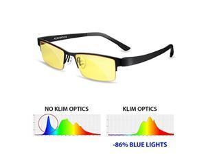 KLIM Optics Blue Light Blocking Glasses - High protection for screens - Blue Blocker Gaming Glasses PC Mobile TV - Anti Eye Fatigue Anti UV Blue Light - Blue Lights Filters Computer & Reading Glasses