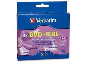 verbatim dvd+r dl azo 8.5gb 8x10x branded double layer recordable disc, 5disc slim case 95311