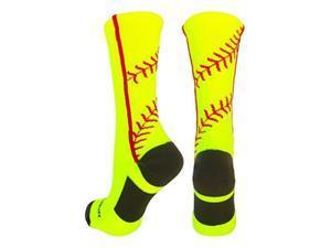 MadSportsStuff Softball Socks with Stitches in Crew Length (Neon Yellow/Red, Medium)