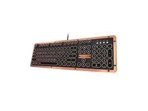 azio retro classic bluetooth artisan  luxury vintage backlit mechanical keyboard, black/copper mkretrolbt03us