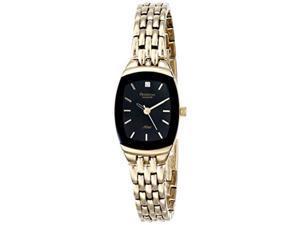 armitron women's 75/5195bkgp diamond accented black dial goldtone bracelet watch