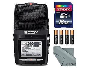 zoom h2n handy recorder with five mic capsules  bundle with 16gb sdhc card, 4 aa batteries, microfiber cloth