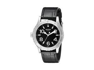 nixon women's a4671886 3820 stainless steel watch with black leather band
