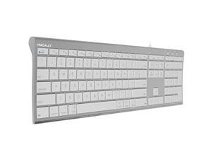 macally ultraslim usb wired computer keyboard for apple macbook pro, air, imac, mac mini, windows pc laptops/desktops and notebooks   plug and play  no drivers   silver finish
