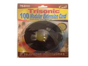 Trisonic Telephone Extension Cord Phone Cable Foot, Black