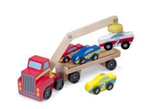 melissa & doug magnetic car loader wooden toy set with 4 cars and 1 semitrailer truck